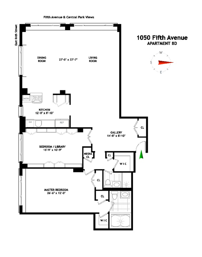 1050 Fifth Avenue 8D, Upper East Side, NYC, $3,249,000, Web #: 19878915