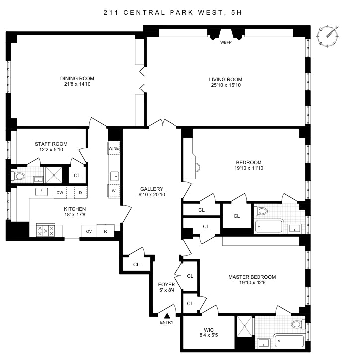 211 Central Park West 5H, Upper West Side, NYC, $3,600,000, Web #: 19887629