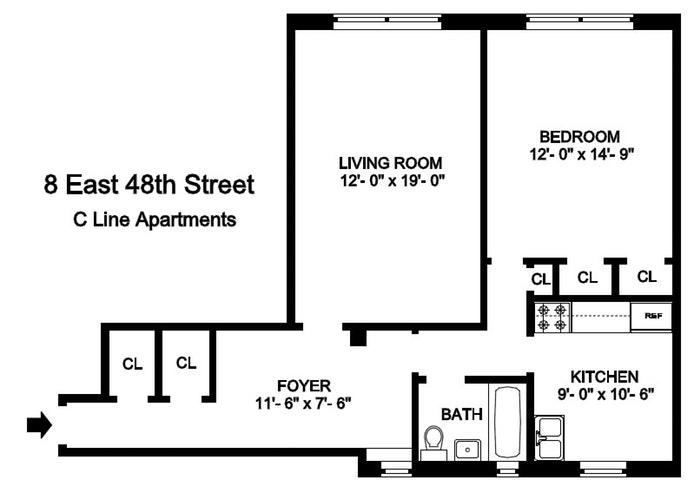 8 East 48th Street 5C, Midtown East, NYC, $3,300, Web #: 19900984