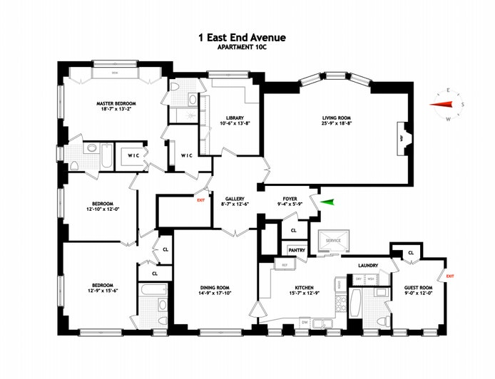1 East End Avenue 10C, Upper East Side, NYC, $2,995,000, Web #: 19910645