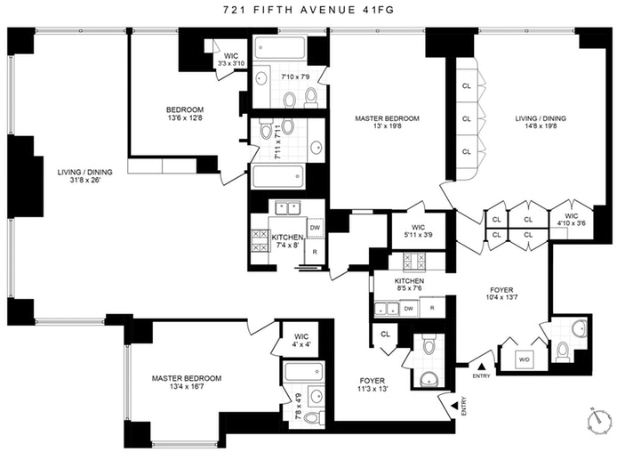 721 Fifth Avenue 41F/G, Midtown East, NYC, $4,950,000, Web #: 19917166