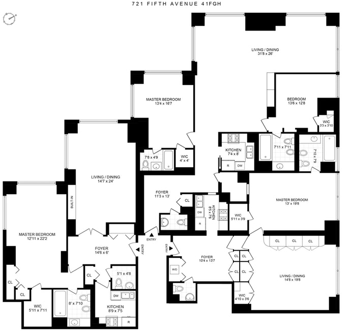 721 Fifth Avenue 41F/G/H, Midtown East, NYC, $6,949,000, Web #: 19917765