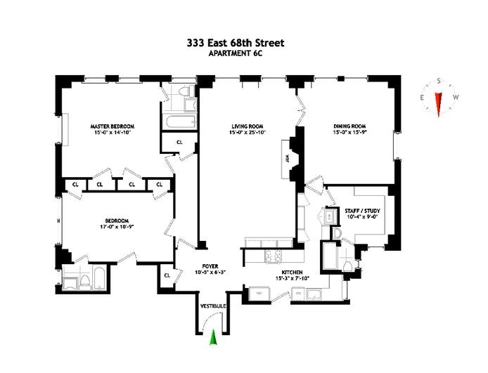 333 East 68th Street 6C, Upper East Side, NYC, $1,725,000, Web #: 19936527
