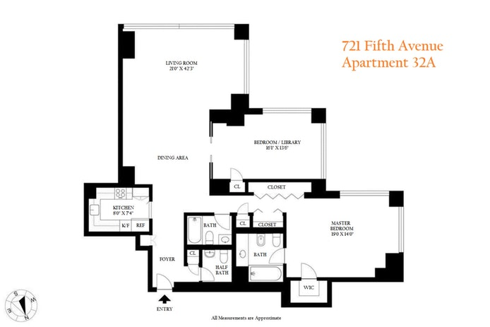 721 Fifth Avenue 32A, Midtown East, NYC, $2,600,000, Web #: 19948431