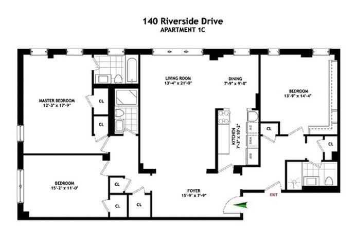 140 Riverside Drive 1C, Upper West Side, NYC, $2,095,000, Web #: 19968886