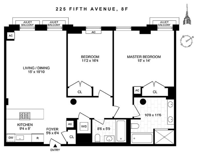 225 Fifth Avenue 8F, Flatiron/Gramercy Park, NYC, $9,500, Web #: 19981219