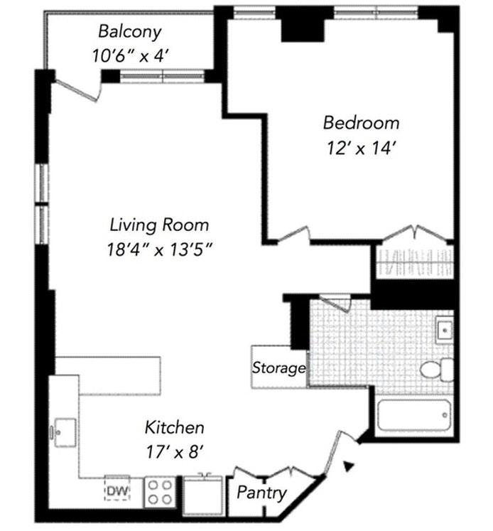222 West 14th Street 8F, Greenwich Village/Chelsea, NYC, $4,650, Web #: 19984420