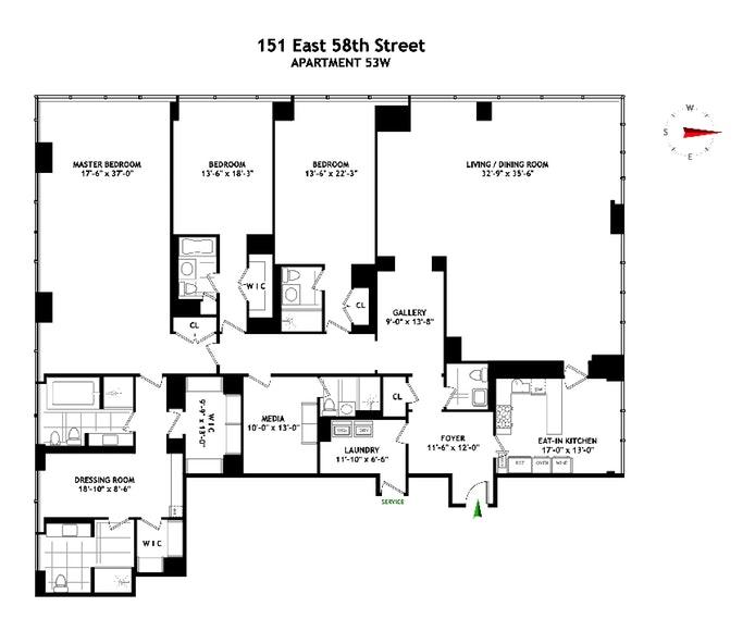 151 East 58th Street Ph53w, Midtown East, NYC, $17,500,000, Web #: 20017204