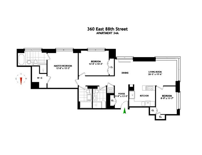 360 East 88th Street 34A, Upper East Side, NYC, $1,895,000, Web #: 20019800
