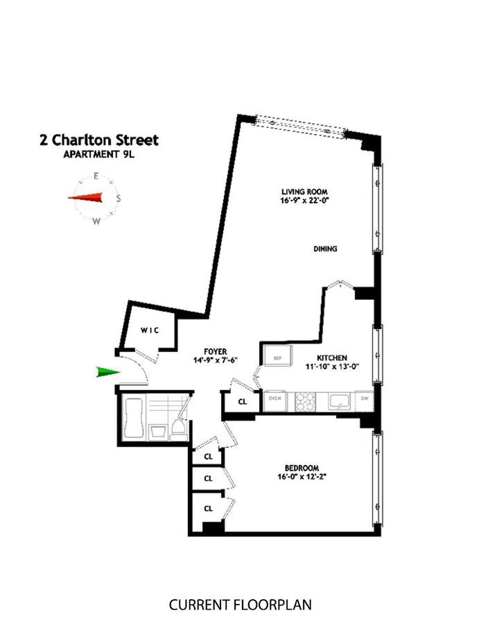 2 Charlton Street 9L, Soho, NYC, $1,210,000, Web #: 20035859
