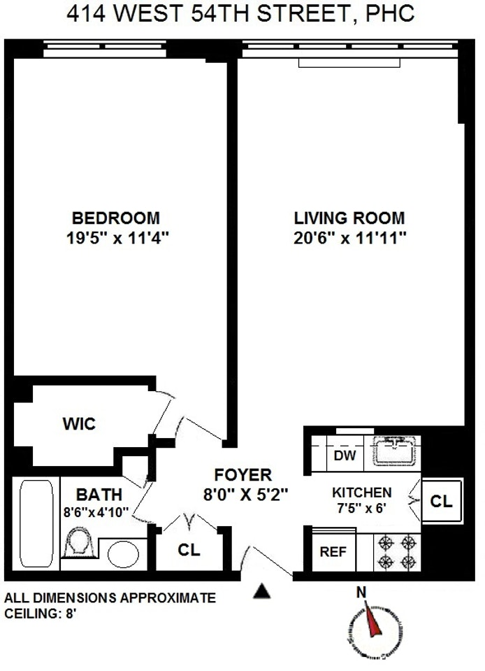 414 West 54th Street Phc, Midtown West, NYC, $3,400, Web #: 20047144