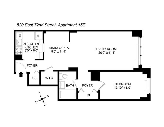 520 East 72nd Street 15E, Upper East Side, NYC, $595,000, Web #: 20054262