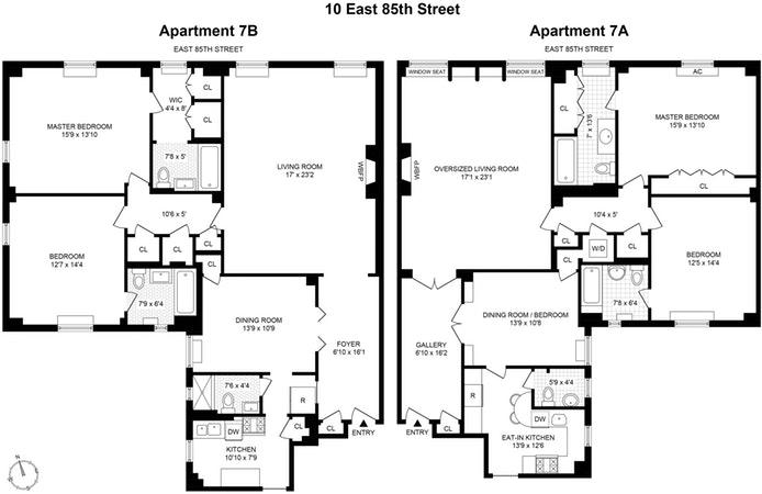 10 East 85th Street 7A/7B, Upper East Side, NYC, $3,390,000, Web #: 20057201