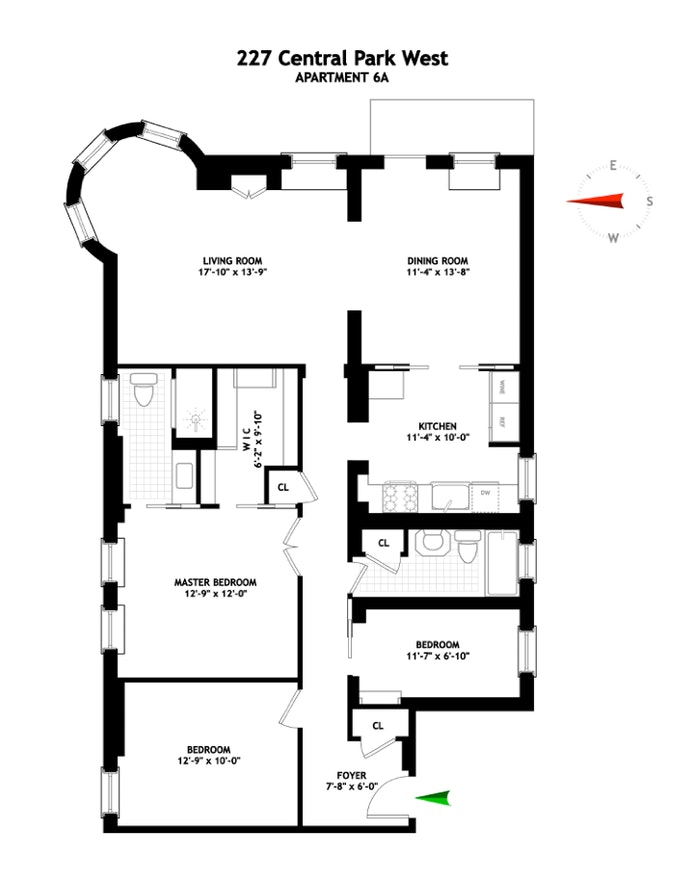 227 Central Park West 6A, Upper West Side, NYC, $2,900,000, Web #: 20057655