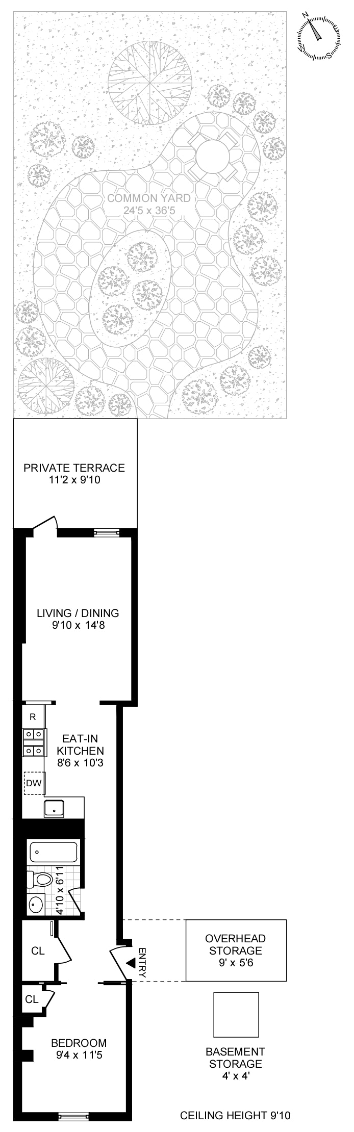 419 West 48th Street 1W, Midtown West, NYC, $630,000, Web #: 20074021