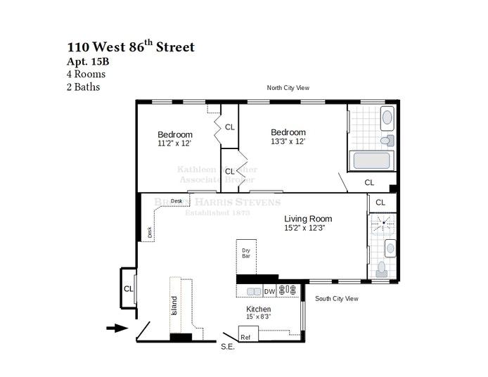 110 West 86th Street 15B, Upper West Side, NYC, $1,225,000, Web #: 20095247
