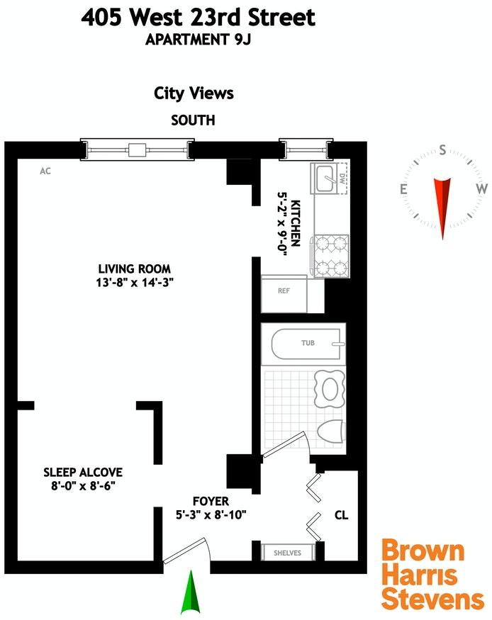 405 West 23rd Street 9J, Greenwich Village/Chelsea, NYC, $649,000, Web #: 20095946