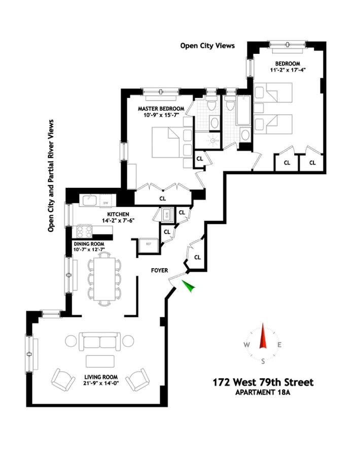 172 West 79th Street, Upper West Side, NYC, $2,325,000, Web #: 20100219