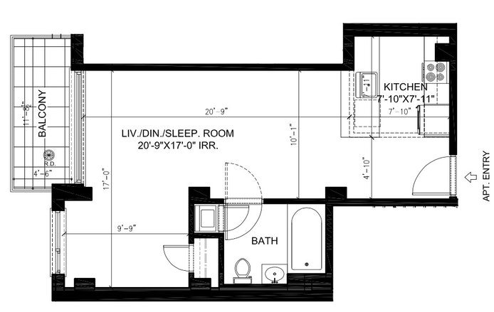351 West 54th Street 4D, Midtown West, NYC, $2,700, Web #: 20101244