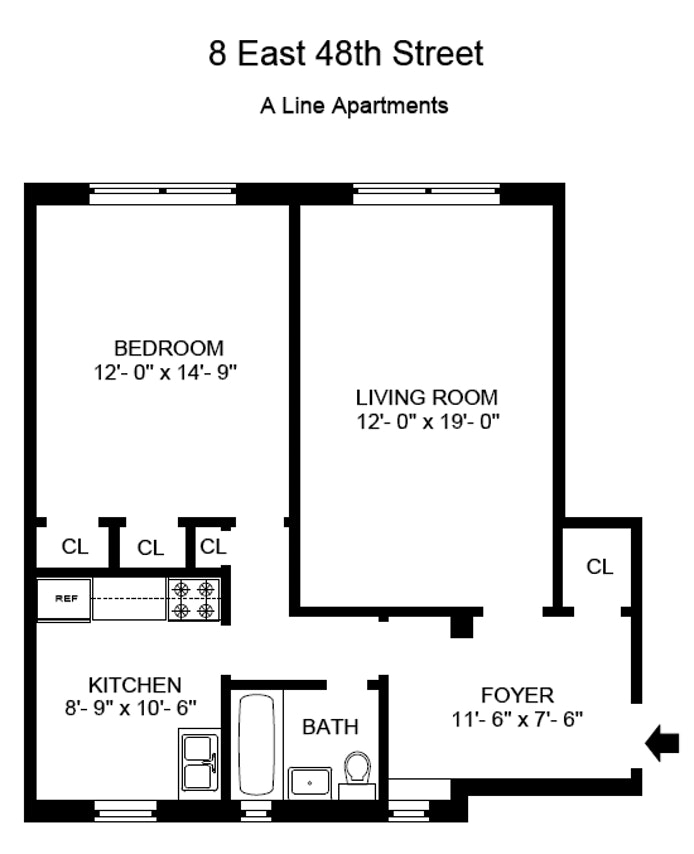 8 East 48th Street 3A, Midtown East, NYC, $3,000, Web #: 20158095