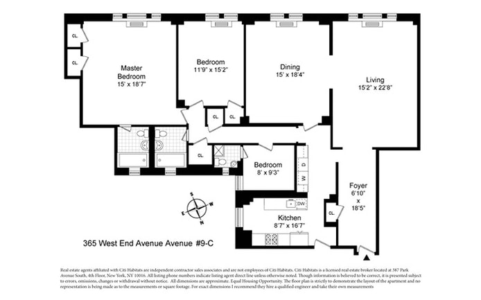 365 West End Avenue 9C, Upper West Side, NYC, $9,300, Web #: 20187768