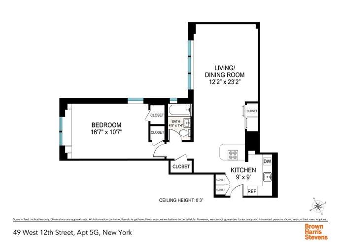 49 West 12th Street 5G, West Village, NYC, $873,900, Web #: 20195480