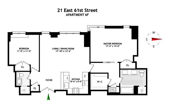 21 East 61st Street 6F, Upper East Side, NYC, $9,000, Web #: 20196549
