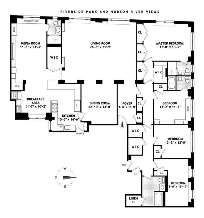 186 Riverside Drive 14E, Upper West Side, NYC, $16,000, Web #: 20205601