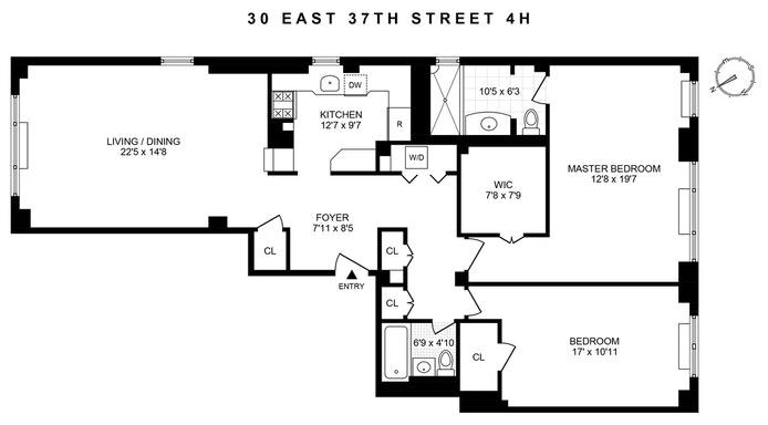 30 East 37th Street 4Hj, Midtown East, NYC, $1,745,000, Web #: 20224574