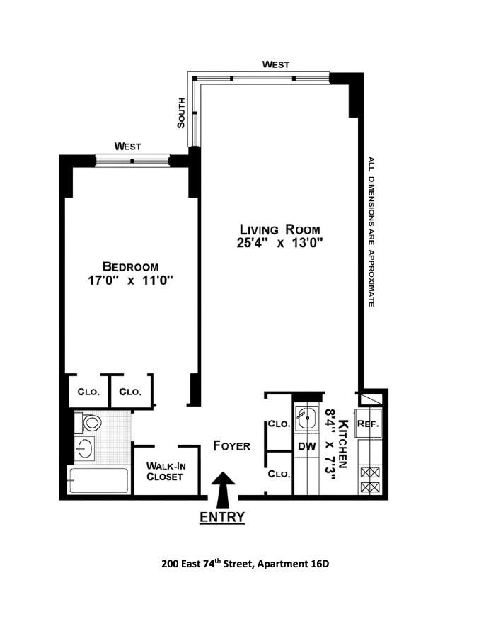 200 East 74th Street 16D, Upper East Side, NYC, $795,000, Web #: 20263485