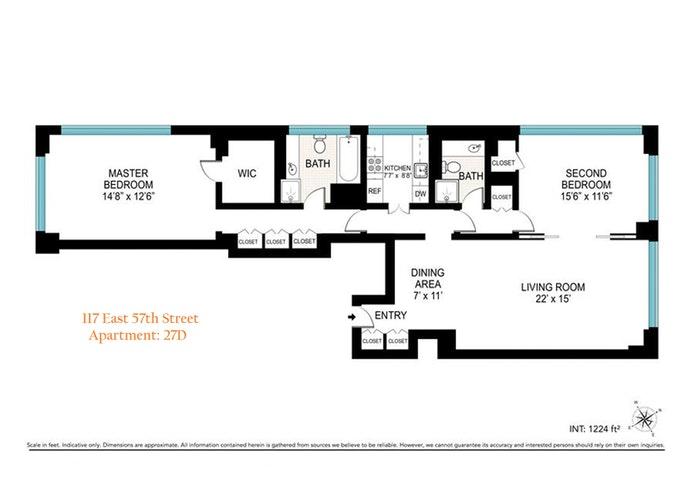 117 East 57th Street 27D, Midtown East, NYC, $6,000, Web #: 20269169
