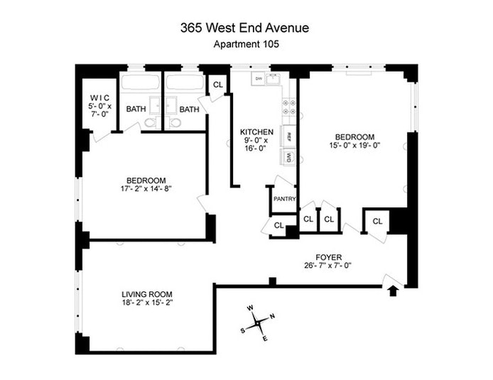 365 West End Avenue 105, Upper West Side, NYC, $5,400, Web #: 20300710