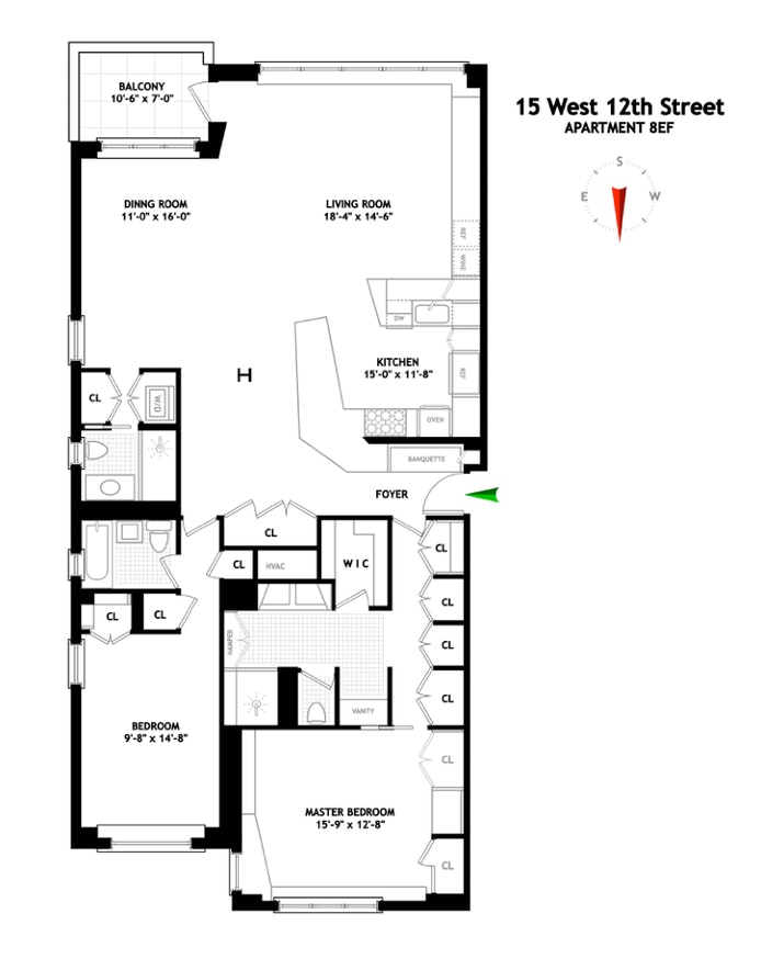 15 West 12th Street 8Ef, Central Village, NYC, $11,500, Web #: 20335186