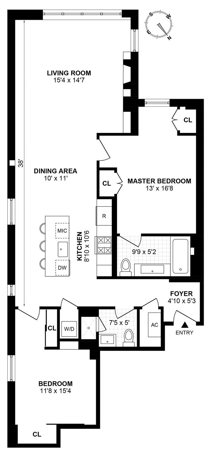 406 West 45th Street 4C, Midtown West, NYC, $6,000, Web #: 20337498