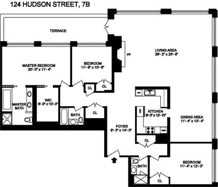 124 Hudson Street 7B, Tribeca, NYC, $19,000, Web #: 20346300