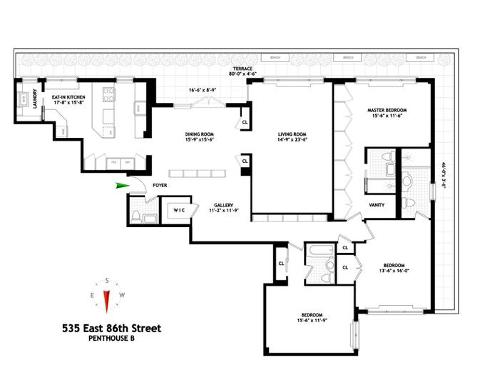 535 East 86th Street Phb, Upper East Side, NYC, $4,650,000, Web #: 20353079