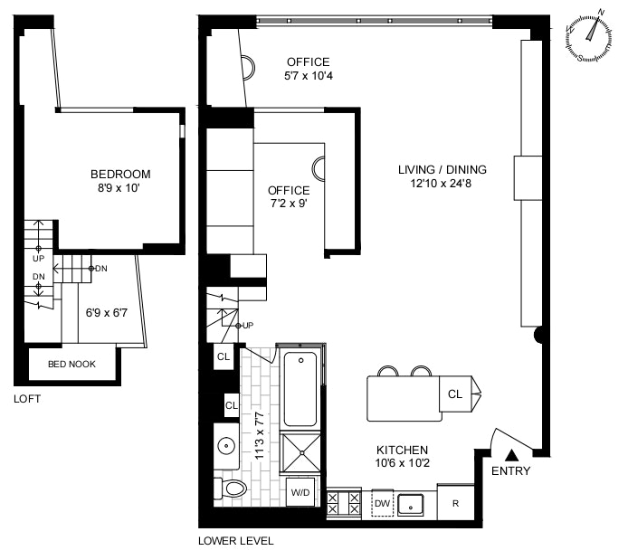 415 West 55th Street 4D, Midtown West, NYC, $849,000, Web #: 20384179