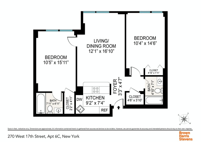 270 West 17th Street 6C, Chelsea, NYC, $5,000, Web #: 20431948