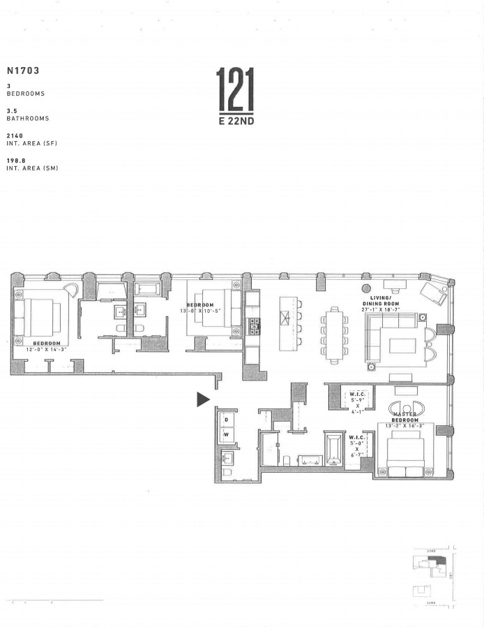 121 East 22nd Street N1703, Flatiron/Gramercy Park, NYC, $15,950, Web #: 20495993