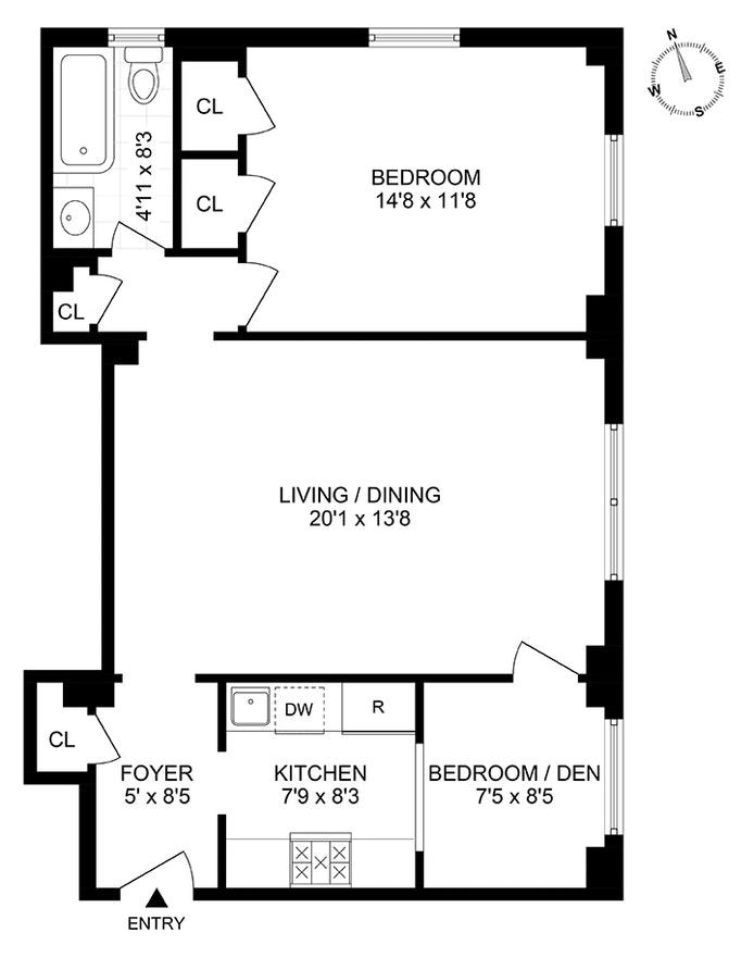 390 Riverside Drive 6C, Upper West Side, NYC, $780,000, Web #: 20568745