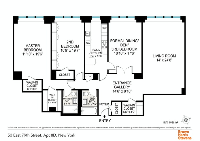 50 East 79th Street 8D, Upper East Side, NYC, $1,850,000, Web #: 20581473