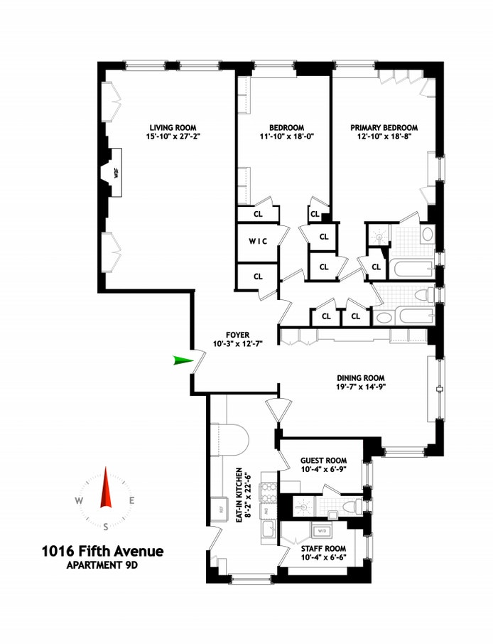 1016 Fifth Avenue 9D, Upper East Side, NYC, $2,500,000, Web #: 20586346