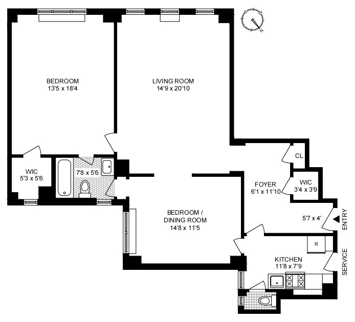 150 West 55th Street 5F, Midtown West, NYC, $850,000, Web #: 20600597