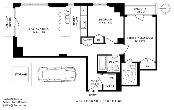 415 Leonard Street 6E, Brooklyn, New York, $4,450, Web #: 20612728