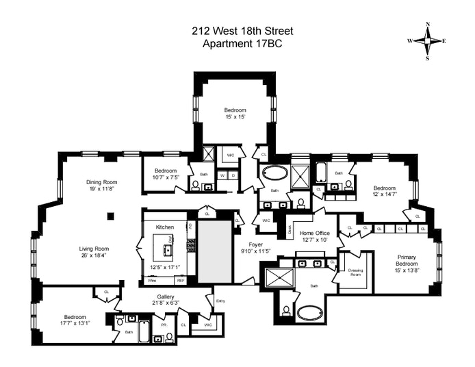 212 West 18th Street 17Bc, Chelsea, NYC, $18,495,000, Web #: 20637325