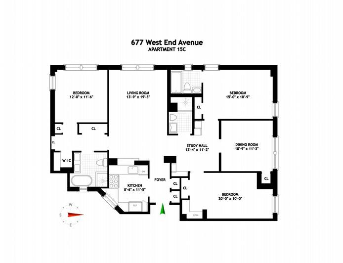 677 West End Avenue 15C/D, Upper West Side, NYC, $2,495,000, Web #: 20747579