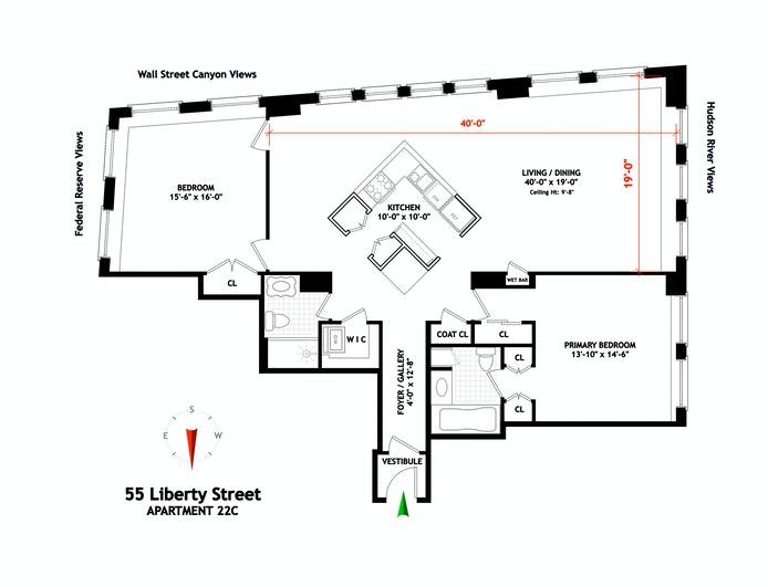 55 Liberty Street 22C, Financial District, NYC, $1,389,000, Web #: 20750198