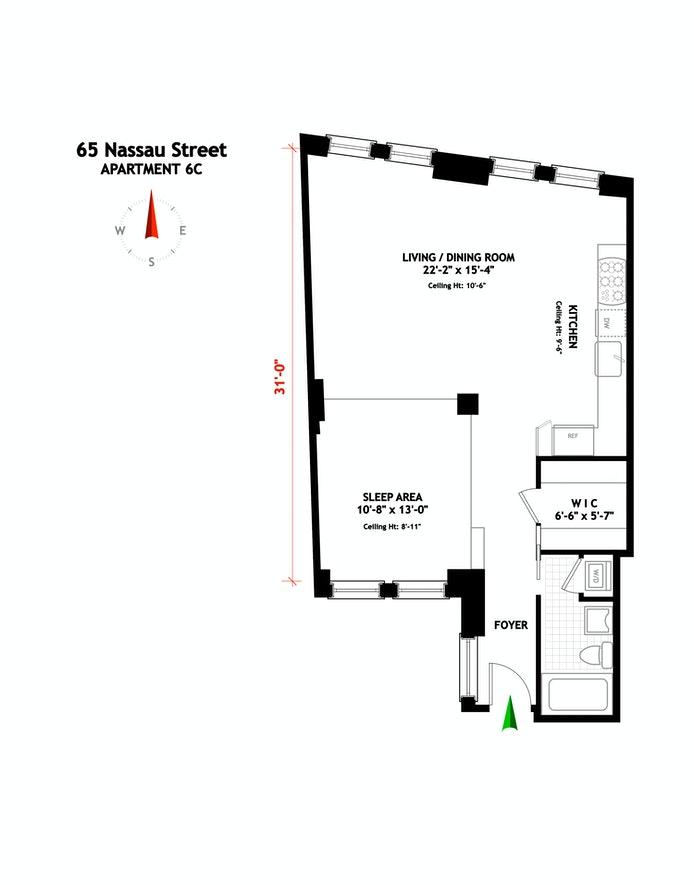 65 Nassau Street 6C, Financial District, NYC, $575,000, Web #: 20760042