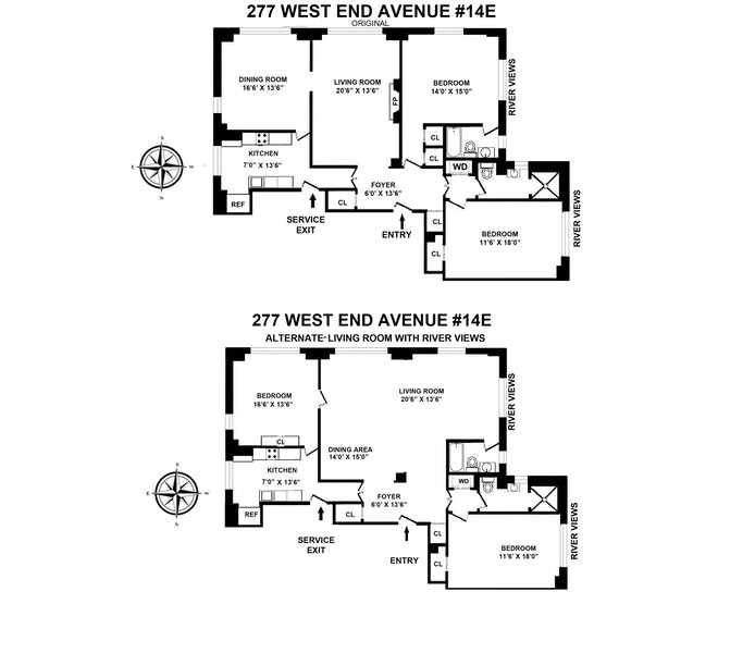 277 West End Avenue 14E, Upper West Side, NYC, $2,595,000, Web #: 20781060