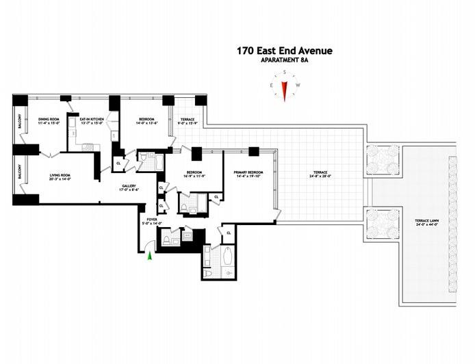 170 East End Avenue 8A, Upper East Side, NYC, $6,390,000, Web #: 20782532